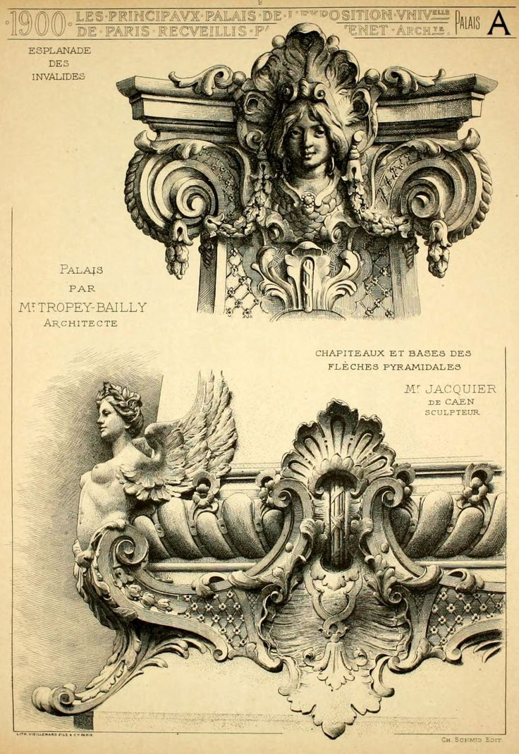 Architectural details of the palaces on the Esplanade des Invalides for the Exposition Universelle of 1900, Paris