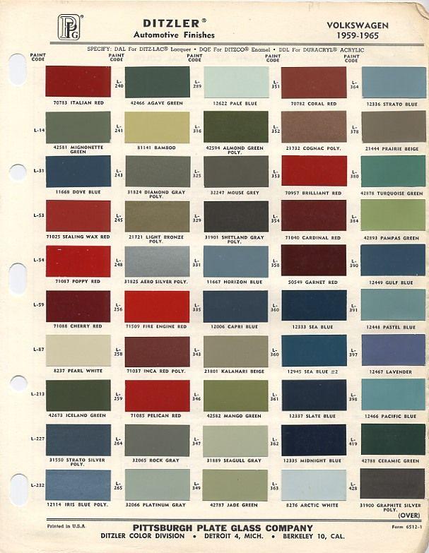 vw original paint color chart