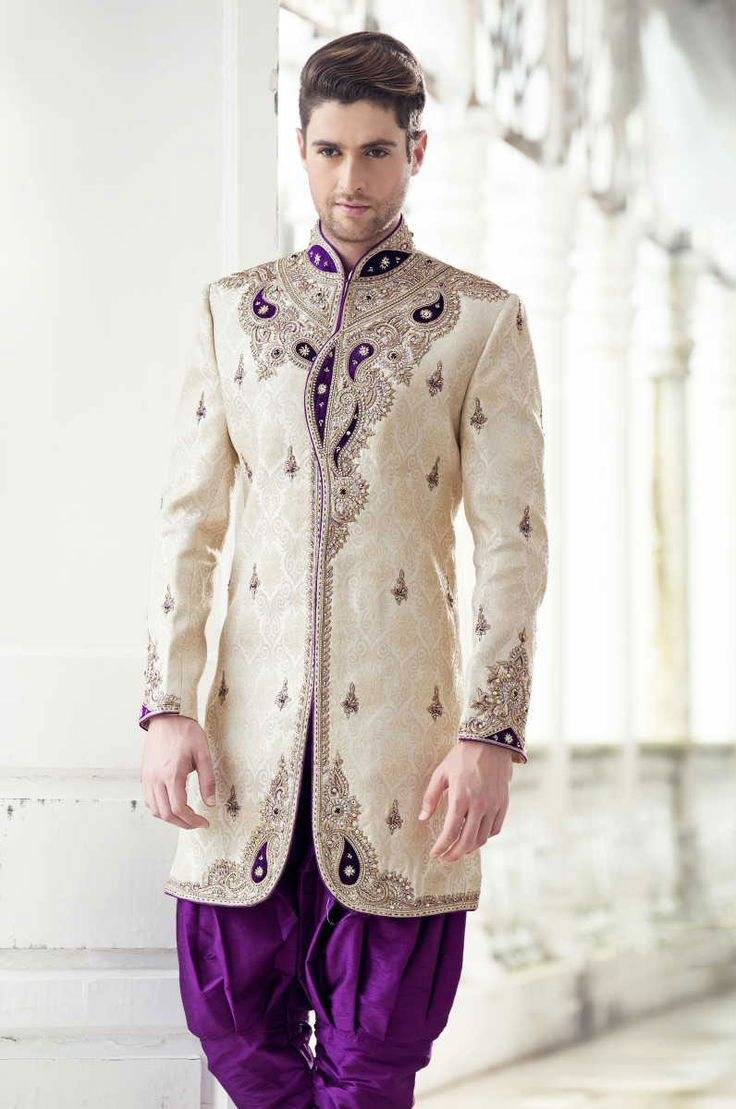 Cream & Purple Silk Full Sleeve Designer Indian Sherwani