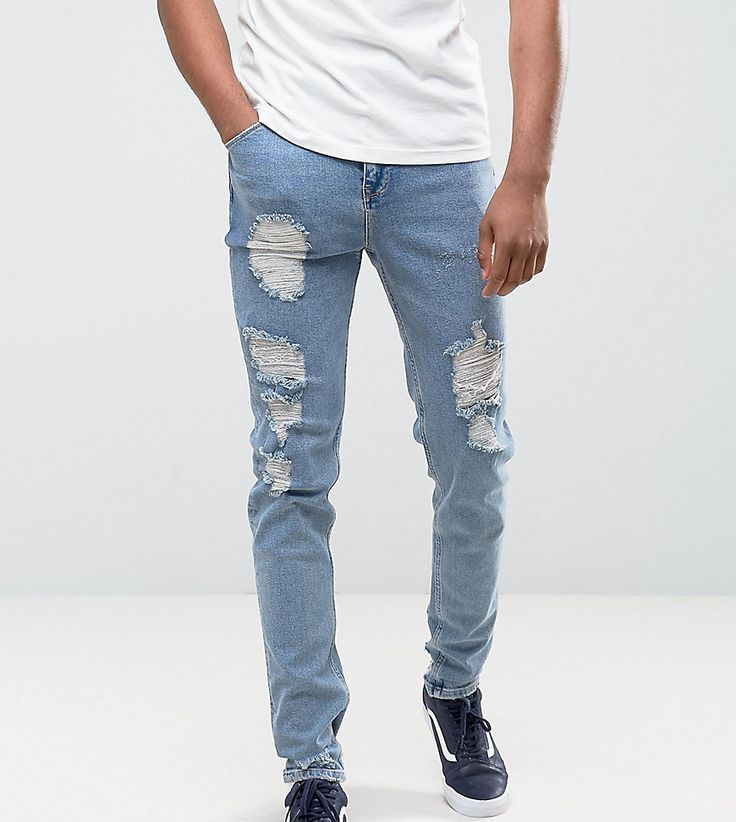 ASOS TALL Tapered Jeans In Vintage Light Wash Blue With Heavy Rips - B