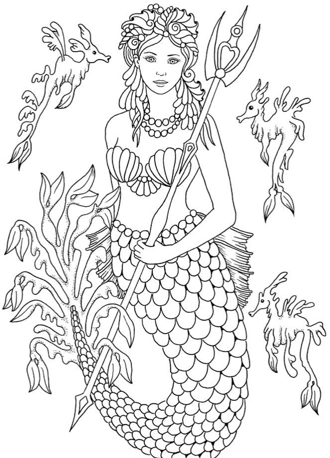 Раскраски для взрослых антистресс «Русалка принцесса с ...
