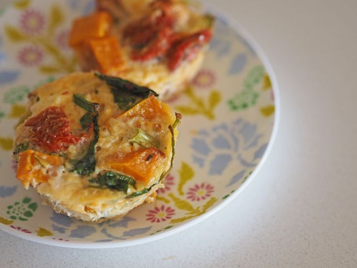 Easy quiche with pumpkin and spinach