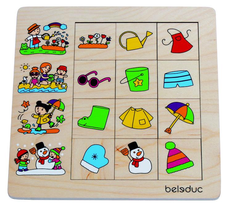 """ROMPECABEZAS DE CLASIFICACIÓN """"ESTACIONES"""" ¿Qué particularidades, objetos y prendas son típicas de las estaciones de primavera, verano, otoño e invierno? Con el rompecabezas de clasificación """"Estaciones"""" los niños descubren las características especiales de las cuatro estaciones y aprenden acerca de las actividades típicas. #puzleniños #encajeniños #puzzles #Beleduc   http://www.babycaprichos.com/rompecabezas-de-clasificacion-estaciones.html"""