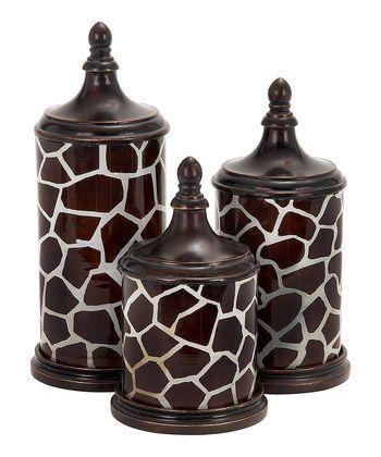 Giraffe Print Canister Set