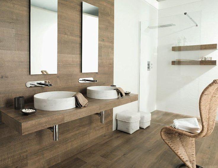 Wood look tiles for bathroom.