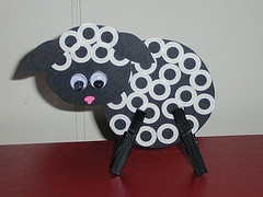 Sheep we made at Crossett...black cardstock, paper reinforcers, clothespins painted black, and pink paint pen.