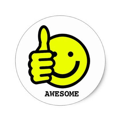 Custom Text Thumbs Up Yellow Smiley Face Sticker - craft supplies diy custom design supply special
