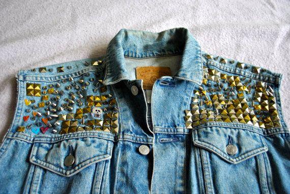 Vintage 90s Punk Studded Cut Off Denim Jacket Vest w/ by skella, $73.00  #etsy #studs #spikes #vintage #punk #grunge #DIY #90s