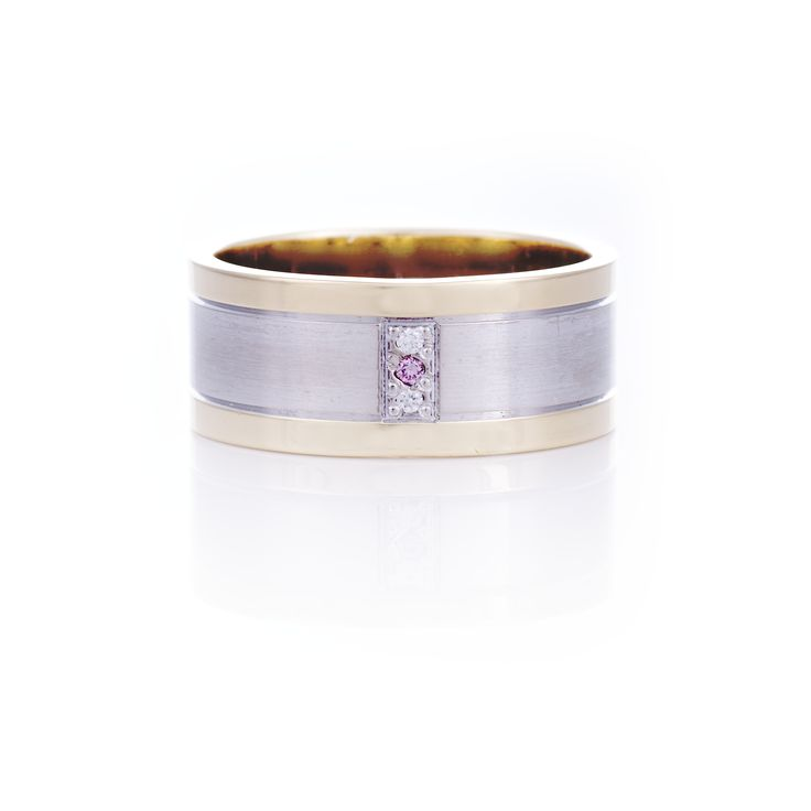 Two tone Men's wedding band set with white and pink diamonds.