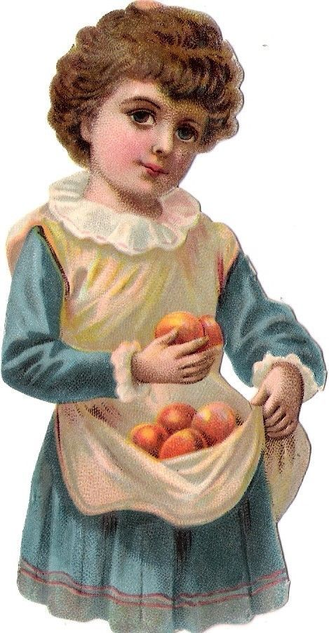 Oblaten Glanzbild scrap die cut chromo Kind child enfant  Obst Frucht fruit