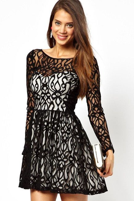 Long Sleeves Lace Skater Dress