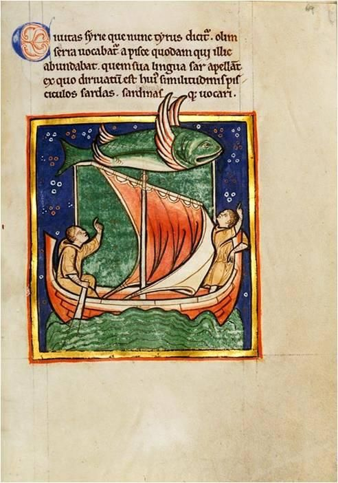 Amazing illumination of the Flying Fish of Tyre, ca. 1170. Nice detail: it seems if the men in the boat a stucked in a giant green drilpudding :)