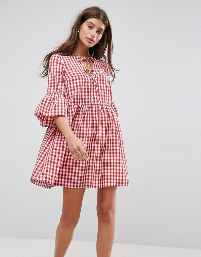 Asos Lace Up Gingham Smock Dress with Fluted Sleeve