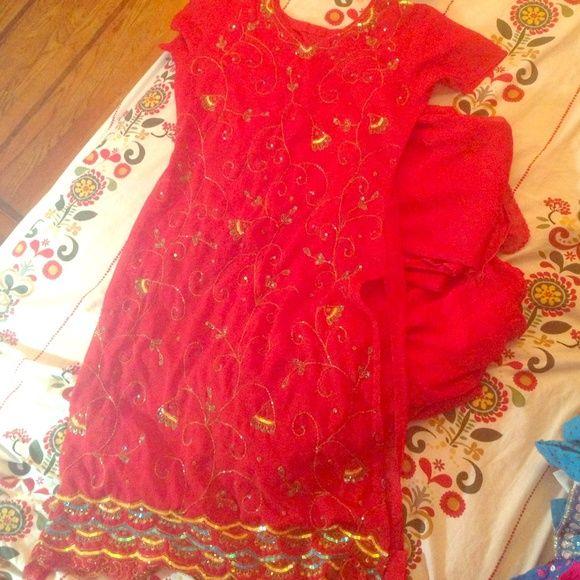 Red indian salwar kameez Indian salwar kameez size 36 38 Dresses