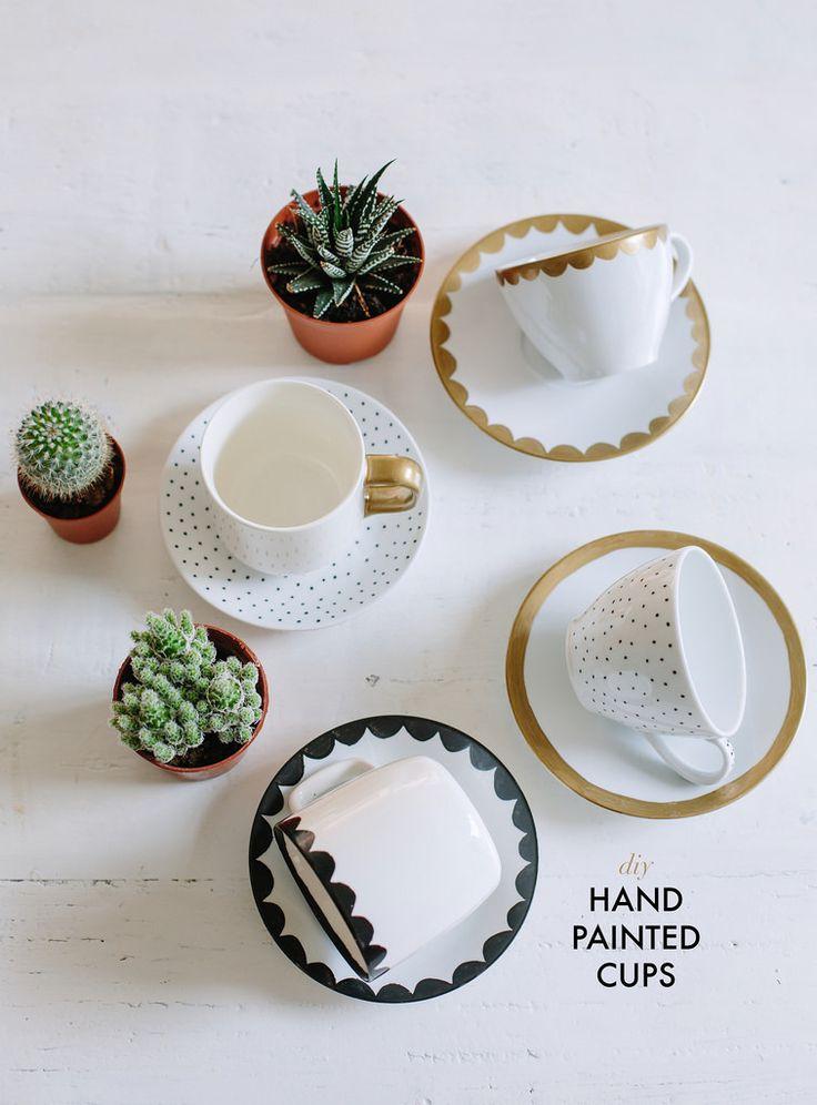 DIY HAND PAINTED TEA CUPS