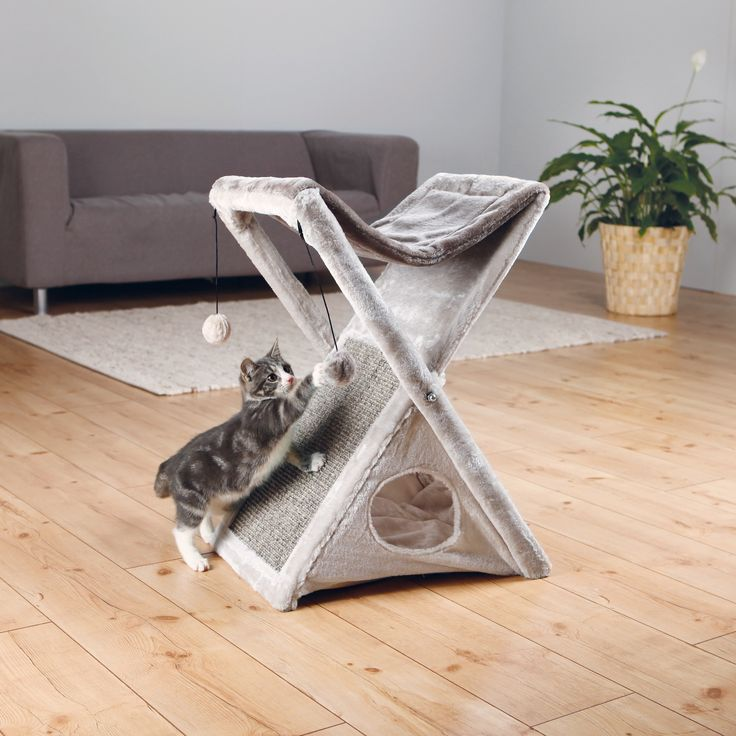 The Miguel Fold and Store Cat Tower's unique design is ideal for small spaces.  Simply fold it up for quick and easy storage. While in use, it provides endless opportunities to play, explore, scratch or just relax.