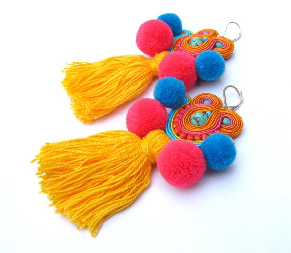 Colorful Boho Earrings with Tassels and by GiSoutacheJewelry