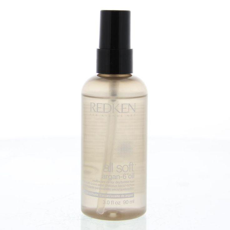Redken Haircare All Soft Argan-6 Olie Droog/Broos Haar 90ml  Description: Redken All Soft Argan-6 Multi Care Oil.All Soft Argan-6 olie met omega-6 verrijkt. Arganolie omwikkelt het haar met geconcentreerde zachtheid voeding en bescherming om droog bros haar intens te voeden. Deze luxueuze olie heeft zes fantastische toepassingen voor het bereiken van zijdeachtige zachtheid: voordat je shampoo gebruikt om te hydrateren  voordat u föhnt om te beschermen na het föhnen om het haar te smoothen op…