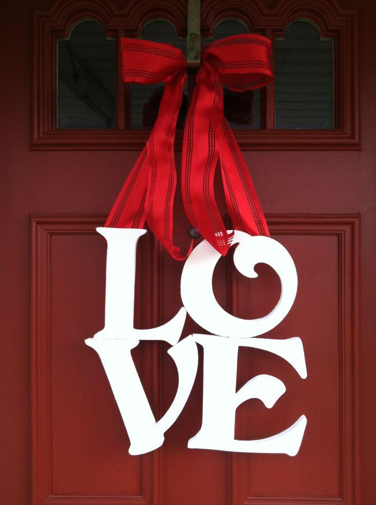 Valentines Day Wreath, LOVE Wreath, Valentines Wreath, Door Wreath. $42.00, via Etsy.