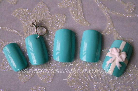 Tiffany blue Japanese 3D Nail Art Otherwise Engaged by Nevertoomuchglitter, $32.00