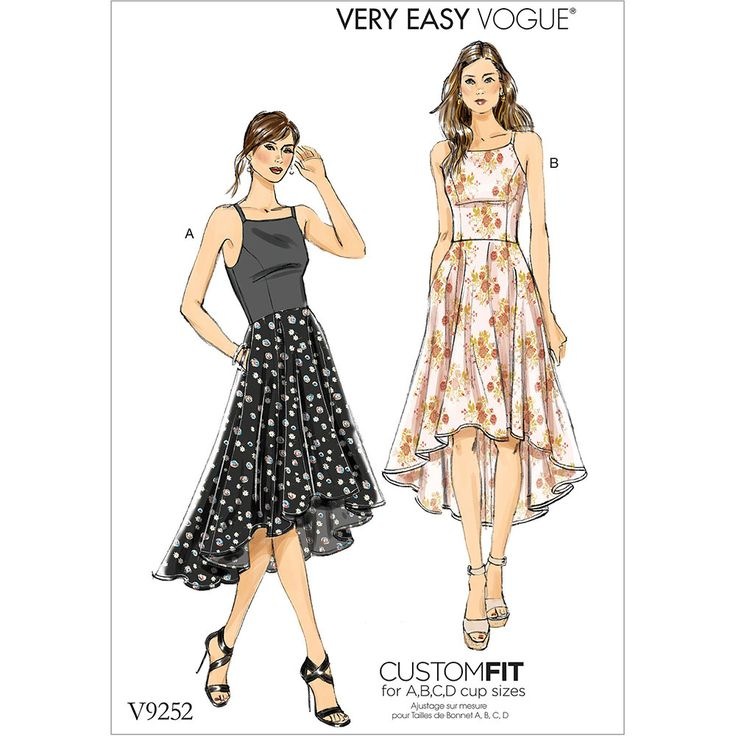 Misses Princess Seam High-Low Dresses with Pockets Vogue Sewing Pattern 9252.