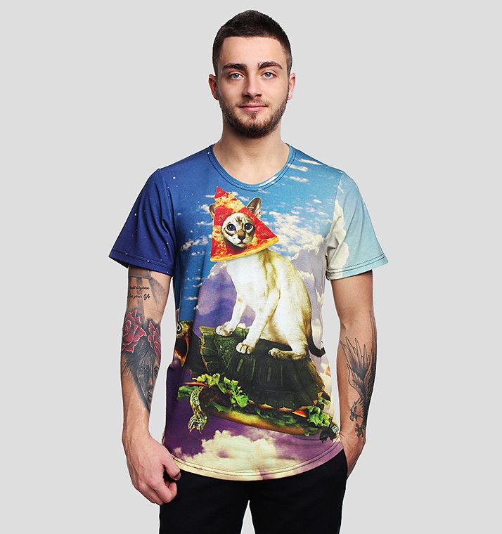 Pizza Cat T-shirt by Brain Wash Clothing