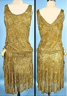 Gold beaded flapper dress, 1926. This is one where you simply must click through to see the details. The amount of beading on this dress is just insane.