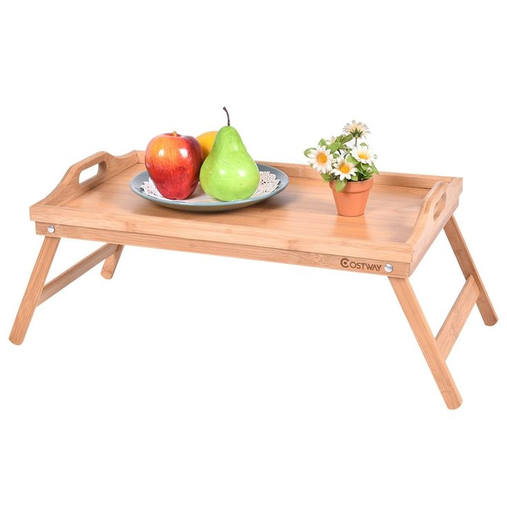 Costway Portable Bamboo (Green) Breakfast Bed Tray Serving Laptop Table Folding Leg w/ Handle