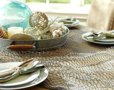 Nautical Tablescape Decor Ideas with Decorative Fish Net | Fish nets, Pottery and Barn