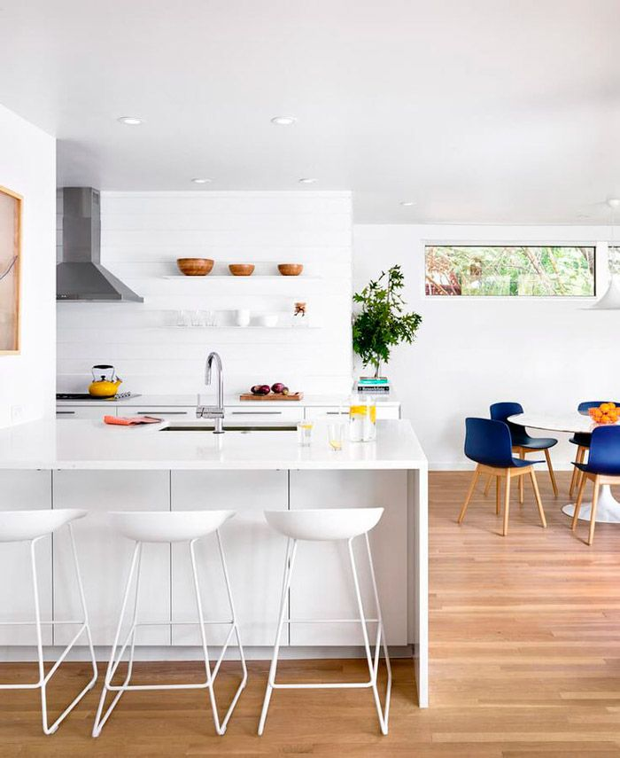 White kitchen with white bar stools
