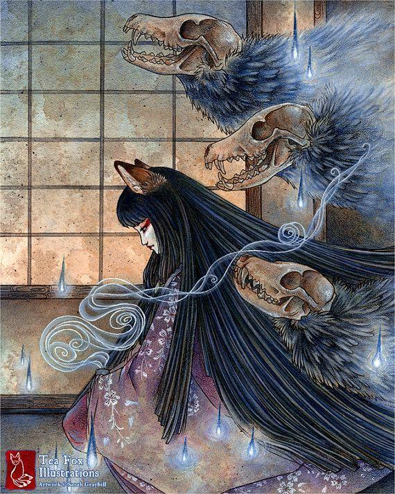Fox Spirit, Kitsune Demon, Yokai, Japanese Art, Fox Woman, 8x10 Glossy Print