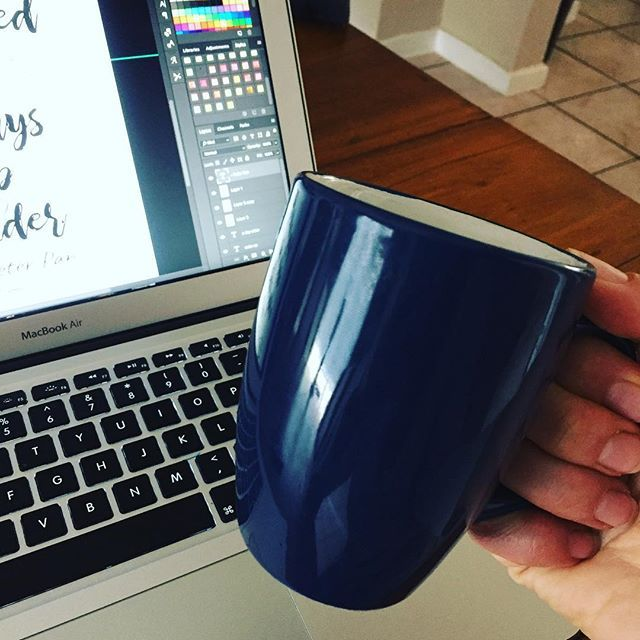 Enjoying some coffee in my favourite mug while working on a custom order. Poster for a young mans bedroom.  Do you have a #favouritemug ?  #posterdesign #roomdecor #wallart #boysroom #youngman #peterpan #moviequotes #etsyshop #etsyseller #onlinestore #designing #deardarling #coffeewins #alwayscoffee #followme #instalike #instakidsworld