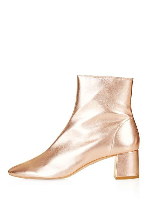 SHOP: Rose gold ankle boots! I got so excited when I saw these on another blogger, they look great with a midi skirt.
