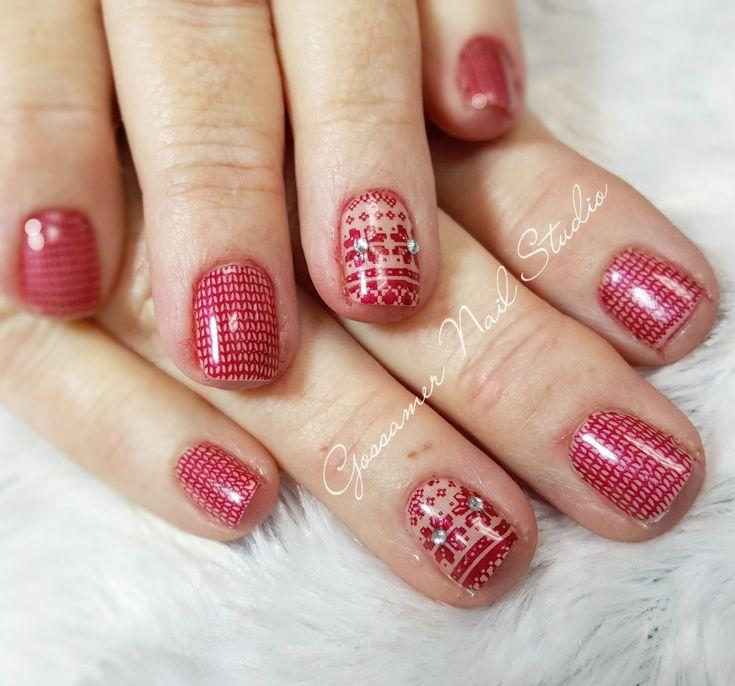 CND Shellac Nail Art by Gossamer Nail Studio, sweater, stamping, Christmas