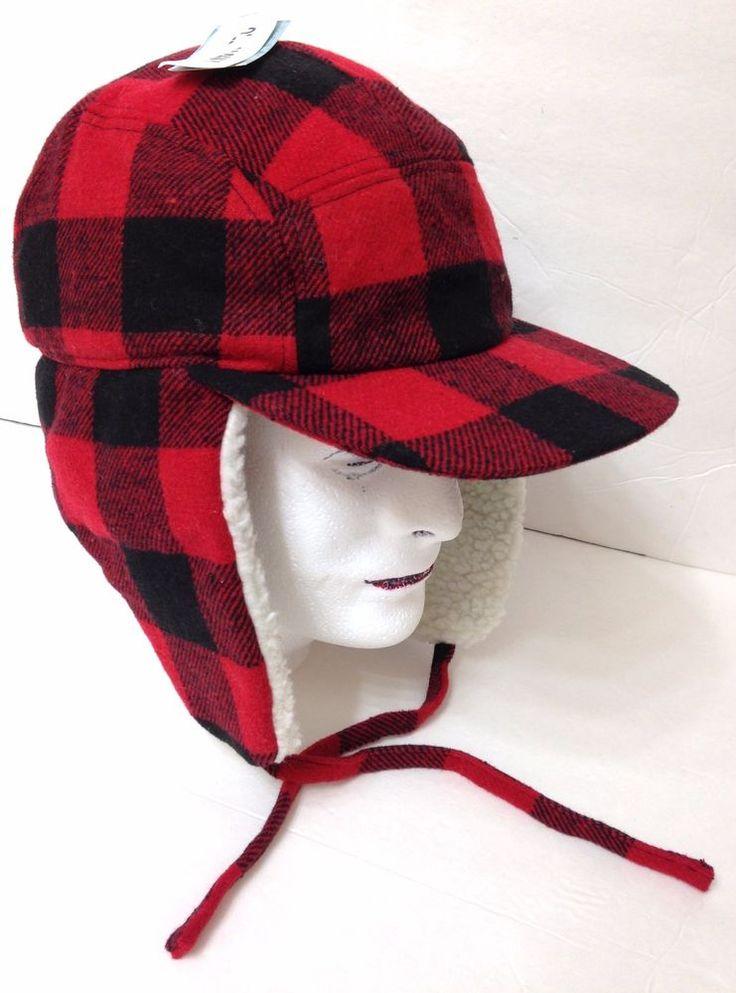 Mens (best for 7-3/8 & 7-1/2) PLAID TRAPPER HAT Red & Black Checkered WOOL BLEND #OldNavy #TrapperHat