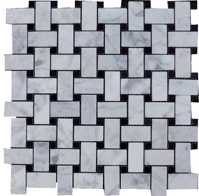 Bianco White Carrara Marble With Black Dot Polished Basketweave Tile