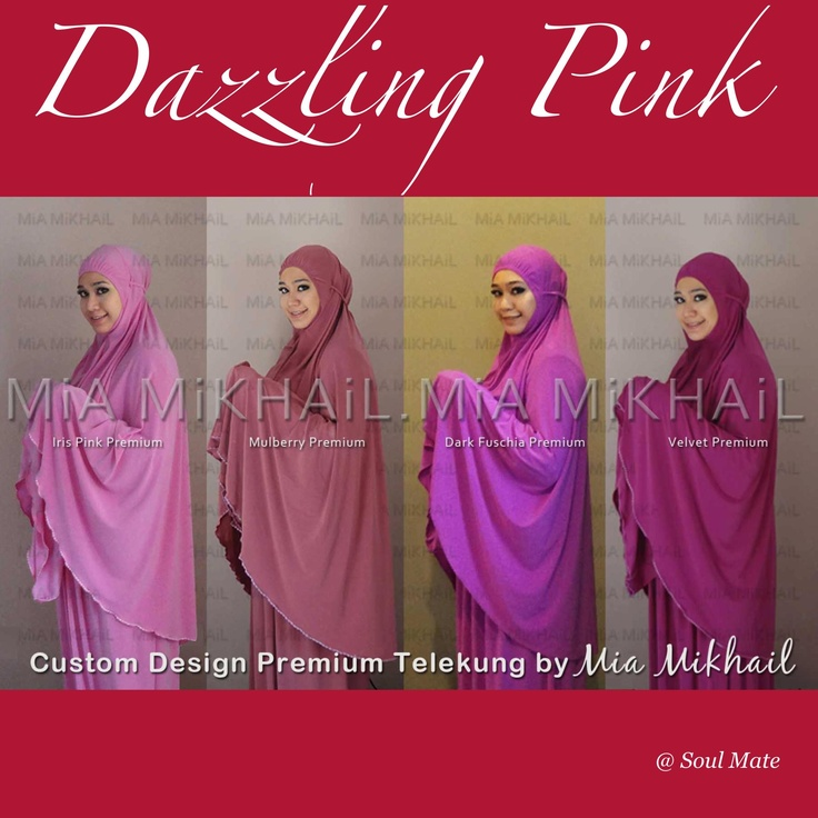 Think pink!   Be dazzled with these pink colors! From sweet Iris to passionate Velvet, these telekungs are super comfy, made of quality lycra material that's cooling, not transparent, soft & flowy, and can fit from petite to tall / plus sizes, InSya Allah.  Pick your favorite pink @ only RM160 (excl. postage) #Soulmate #products