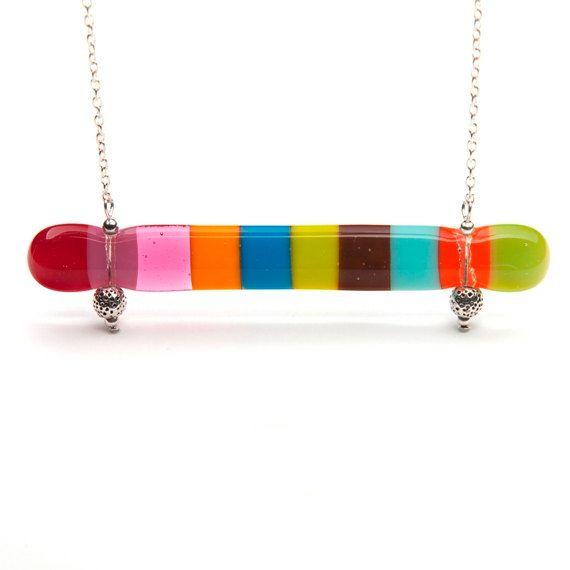 Rainbow colored vertical necklace  MOKSHA by boldcolorglass, $25.80