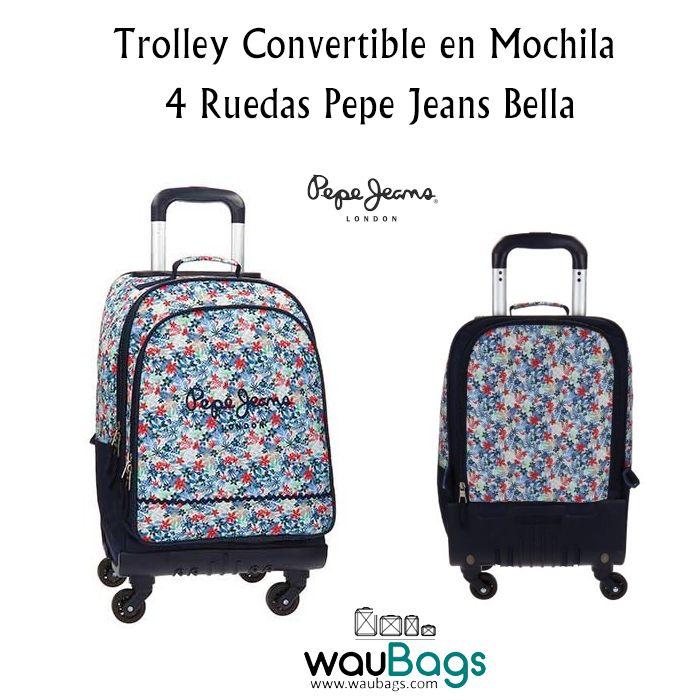 La Trolley Pepe Jeans Bella es convertible en mochila y tiene 4 ruedas de giro multidireccional para facilitar su uso. Dispone de un compartimento principal con cierre de doble cremallera, un bolsillo frontal para guardar los accesorios más pequeños, un asa en la parte superior y un compartimento en la parte trasera para guardar los tirantes y llevarla tipo trolley.  @waubags #pepejeans #mochila #trolley  #convertible #escolar #vueltaalcole #waubags