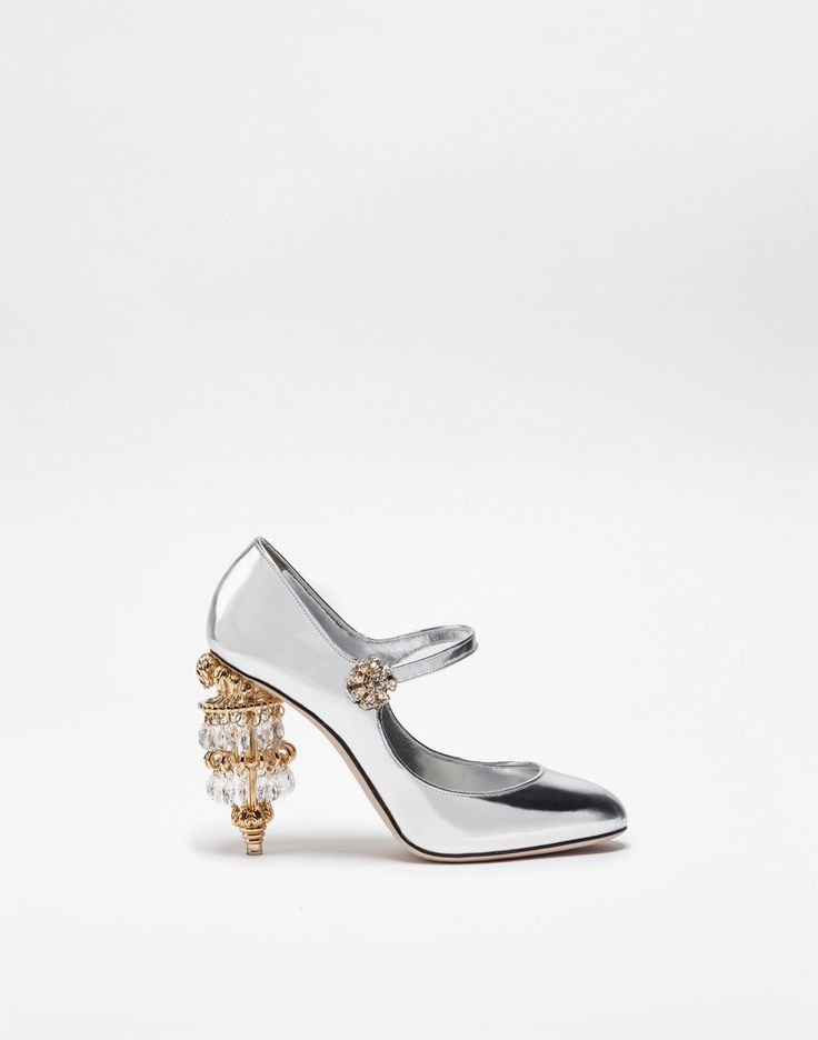 LAMINATED LEATHER MARY JANES WITH SCULPTURAL HEEL