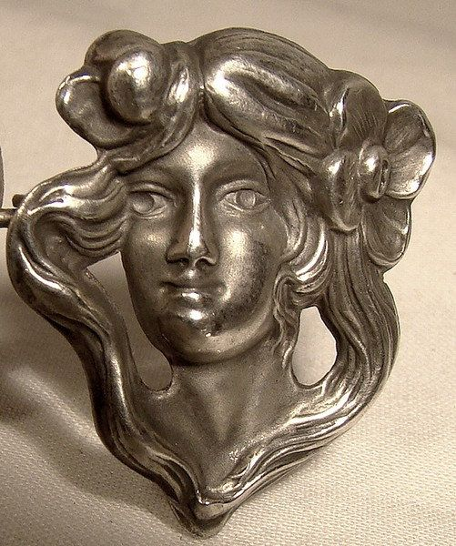 Art Nouveau Sterling Silver Lady's Head by FionaKennyAntiques