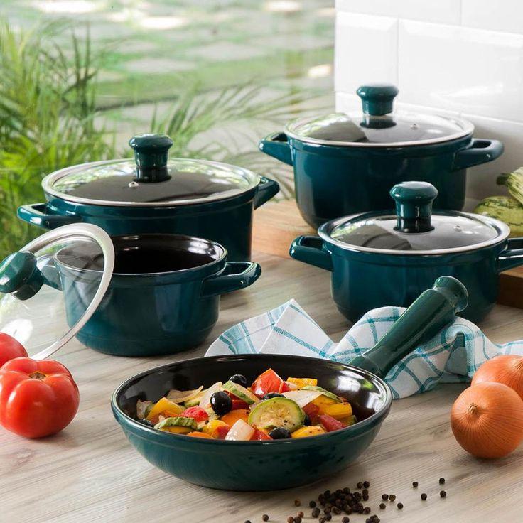 540,00 - Conjunto de Panelas Premium em Cerâmica 5 peças Verde Petróleo - La Cuisine By Ceraflame
