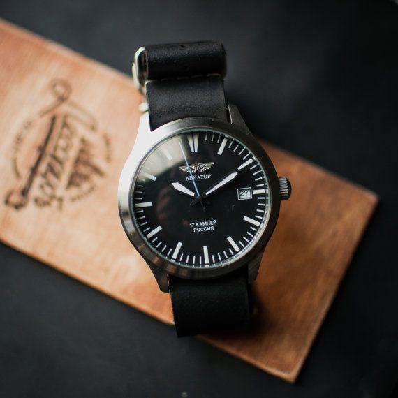 Poljot wrist watch, soviet men's watch, mechanical watch, russian watch, black retro watch, watch for men, boyfriend gift