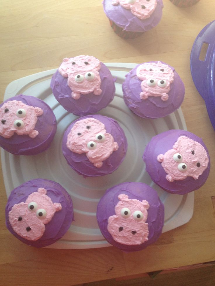 Hippo Cupcakes Grier In 2019 Hippo Cake Birthday