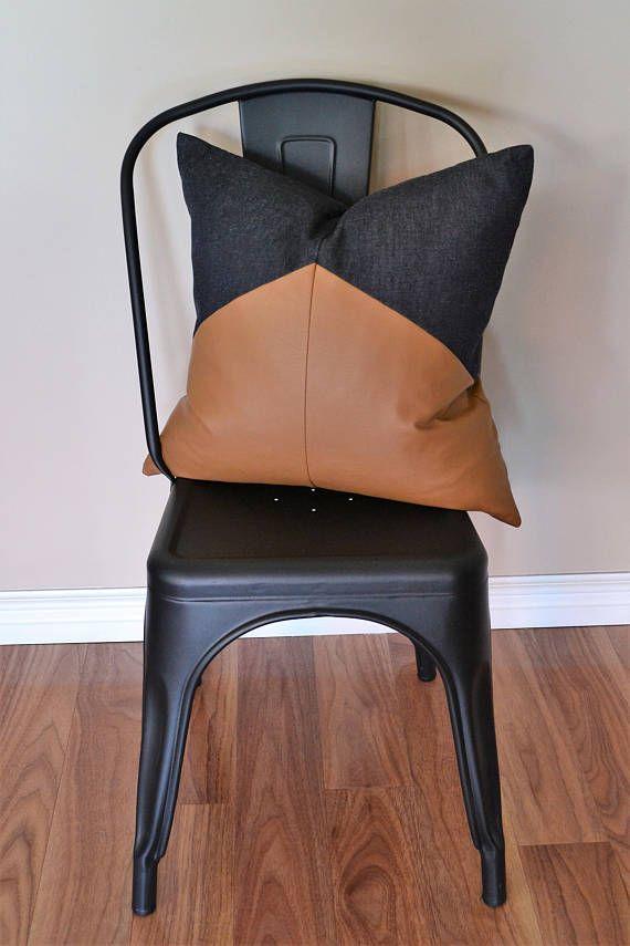 Dark blue indigo denim and faux leather/ leatherette cushion covers