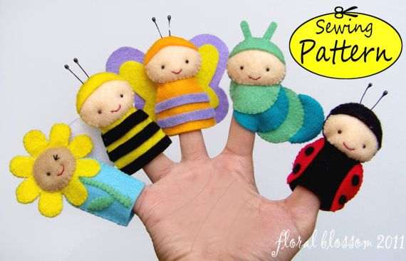 Digital Pattern: Garden Friends Felt Finger di FloralBlossom