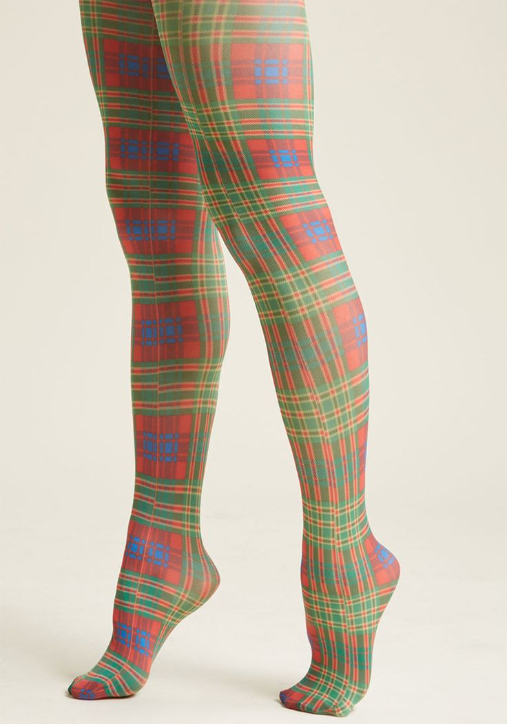 Plaid Your Fall Tights - Size OS