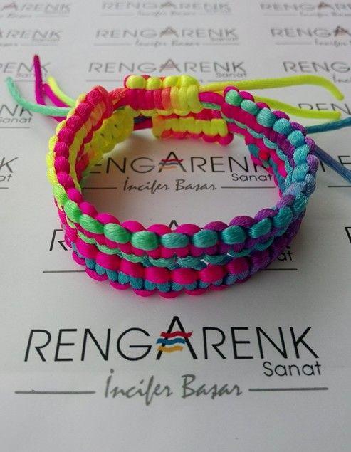 Floş ipten bileklik- www.rengarenksanat.com  Bilgi ve sipariş için: iletisim@rengarenksanat.com #Bracelets #Accessory