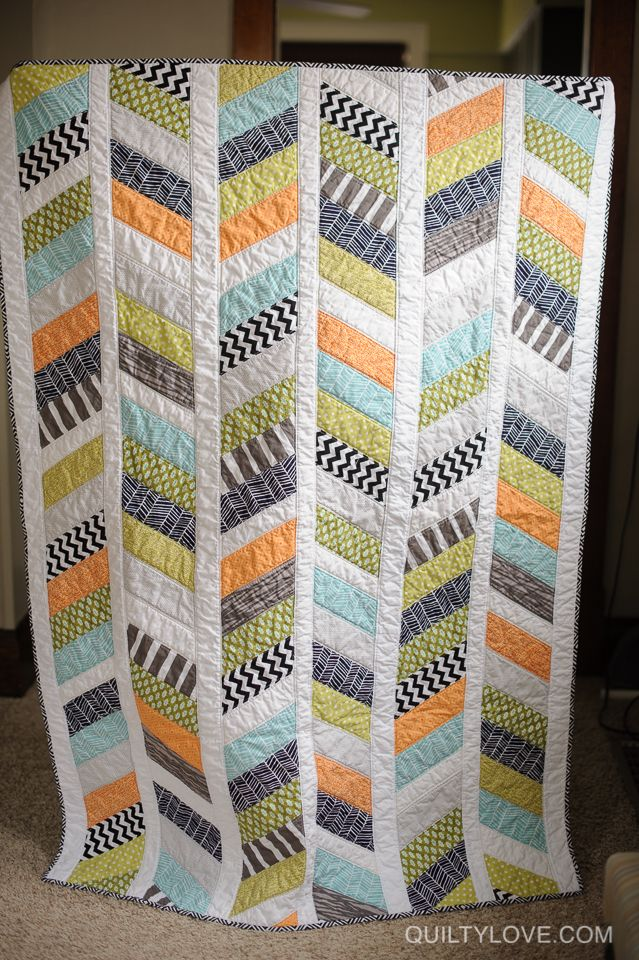 love this - great colours Quilty Love | Herringbone quilt | http://www.quiltylove.com