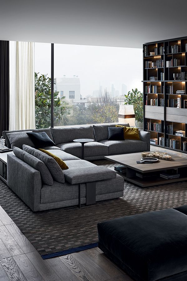 Bristol Sofa by Jean Marie Massaud. Double backrest and modern lines. Grey modular sofa. Ottoman. Checkered rug.